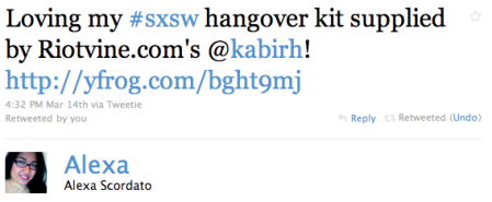 Alexa's tweet about our hangover kit