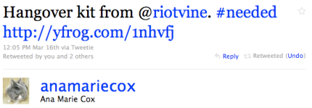 @anamariecox's tweet about RiotVine's hangover kit
